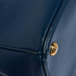 Prada Blue Saffiano Lux Leather Medium Galleria Double Zip Tote
