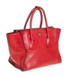 حقيبة يد برادا جيبين متماثلين جلد أحمر
