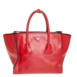 Prada Red Leather Twin Pocket Tote