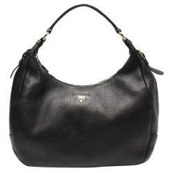Prada Black Leather Vitello Daino Hobo Bag