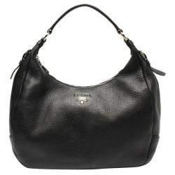 Prada Black Leather Vitello Daino Hobo Bag