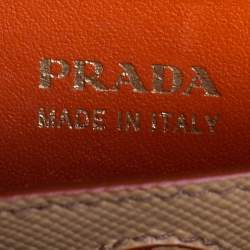 Prada Beige Saffiano Cuir Leather Medium Double Handle Tote