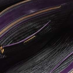 Prada Purple Patent Leather Large Double Zip Tote