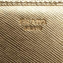 Prada Metallic Gold Saffiano Leather Logo Flap Continental Wallet