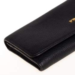 Prada Black Daino Leather Flap Continental Wallet