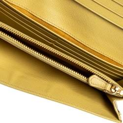 Prada Yellow Saffiano Fiocco Leather Bow Continental Wallet