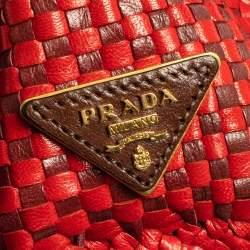 Prada Red/Brown Woven Goatskin Leather Madras Top Handle Bag