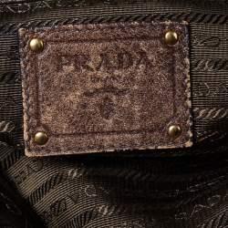 Prada Olive Green Nylon and Leather Gathered Tote