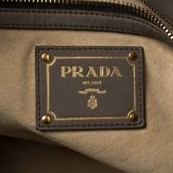 Prada Grey Leather Shopper Tote