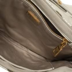 Prada White/Green Tweed and Fabric Flap Crossbody Bag