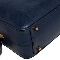 Prada Blue Saffiano Leather Top handle Bag