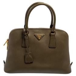 Prada Olive Green Saffiano Lux Leather Medium Promenade Bag