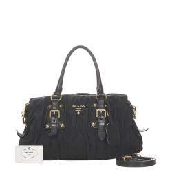 Prada Black Tessuto Gaufre Satchel Bag