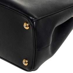 Prada Black Saffiano Leather Small Galleria Double Zip Tote
