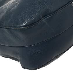 Prada Navy Blue Vitello Daino Leather Front Pocket Hobo