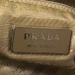 Prada Beige Nylon and Leather Zip Tote