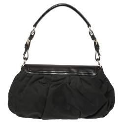 Prada Black Nylon and Leather Flap Hobo