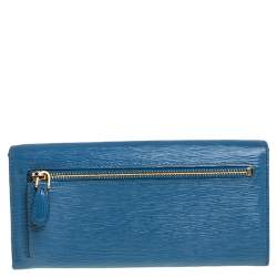 Prada Blue Vitello Move Leather Flap Continental Wallet