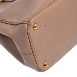 حقيبة يد توتس برادا غاليريا جلد سافيانو لوكس وردي داكن متوسطة
