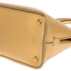 Prada Gold Saffiano Lux Leather Promenade Satchel