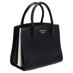 Prada Black/White Saffiano Lux and City Leather Esplanade Tote