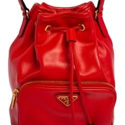 Prada Orange Leather Duet Bucket Shoulder Bag