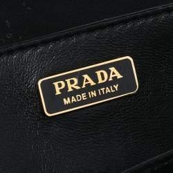 Prada Burgundy/Black Calf Hair And Leather Studded Cahier Top Handle Bag