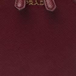 Prada Dark Red Saffiano Lux Leather Phone Crossbody Bag