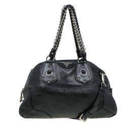 Prada Black Cervo Lux Leather Chain Bowling Bag