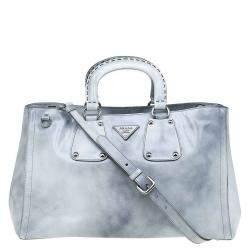 Prada Grey Spazzolato Leather Shopping Tote