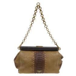 Prada Beige Ombre Python Frame Chain Shoulder Bag