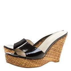 Prada Black Patent Leather Wedge Sandals Size 41