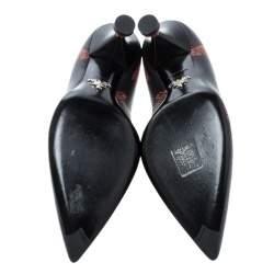 Prada Black Printed Leather Kitten Heels Pumps Size 36.5