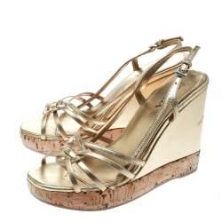 Prada Gold Leather Sligback Platform Wedge Sandals Size 36