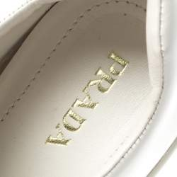 Prada White Crystal Embellished Leather Velcro Sneakers Size 40