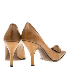 Prada Brown Leather Flower Detail Pointed Toe Pumps Size 38.5