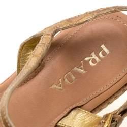 Prada Metallic Gold Croc Embossed Leather Espadrille Wedge Ankle Strap Sandals Size 37.5