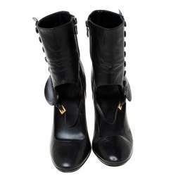 Prada Black Leather Mary Jane Ankle Boots Size 37