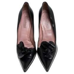 Cesare Paciotti Black Leather Flower Detail Pumps Size 40