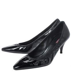 Prada Black Patent Leather Scrunch Pointed Toe Pumps Size 38.5