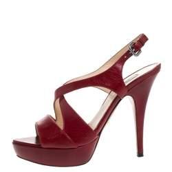 Prada Red Leather Strappy Platform Sandals Size 37