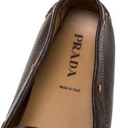 حذاء لوفرز برادا جلد بني داكن مقاس 39