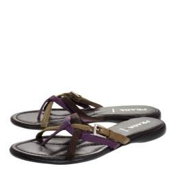 Prada Multicolor Fabric And Leather Buckle Detail Cross Strap Slide Flats Size 38