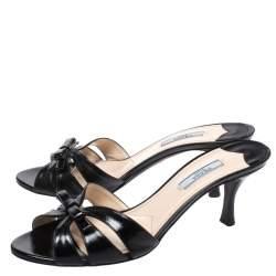 Prada Black Saffiano Patent Leather Bow Slides Size 38.5