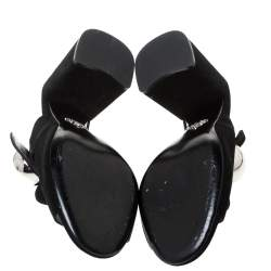 Prada Black Suede Silver Ball Accent Block Heel Mule Sandals Size 38.5