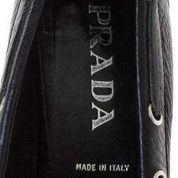 Prada Black Leather Kitten Heel Loafers Size 39