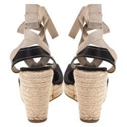 Prada Black Satin Espadrille Wedge Platform Ankle Wrap Sandals Size 38