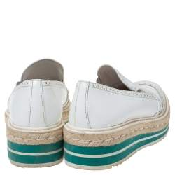 Prada White Brogue Leather Espadrille Platform Flat Loafer Size 38.5