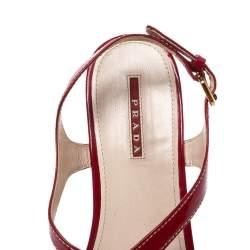 Prada Red Patent Leather Cork Platform Wedge Sandals Size 41