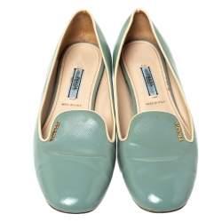 Prada Blue Patent Saffiano Leather Smoking Slippers Size 38.5